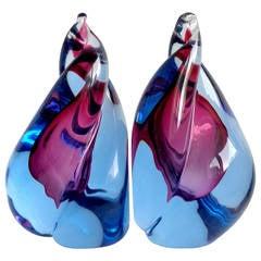 Alfredo Barbini Murano Sommerso Purple and Blue Flame Art Glass Bookends