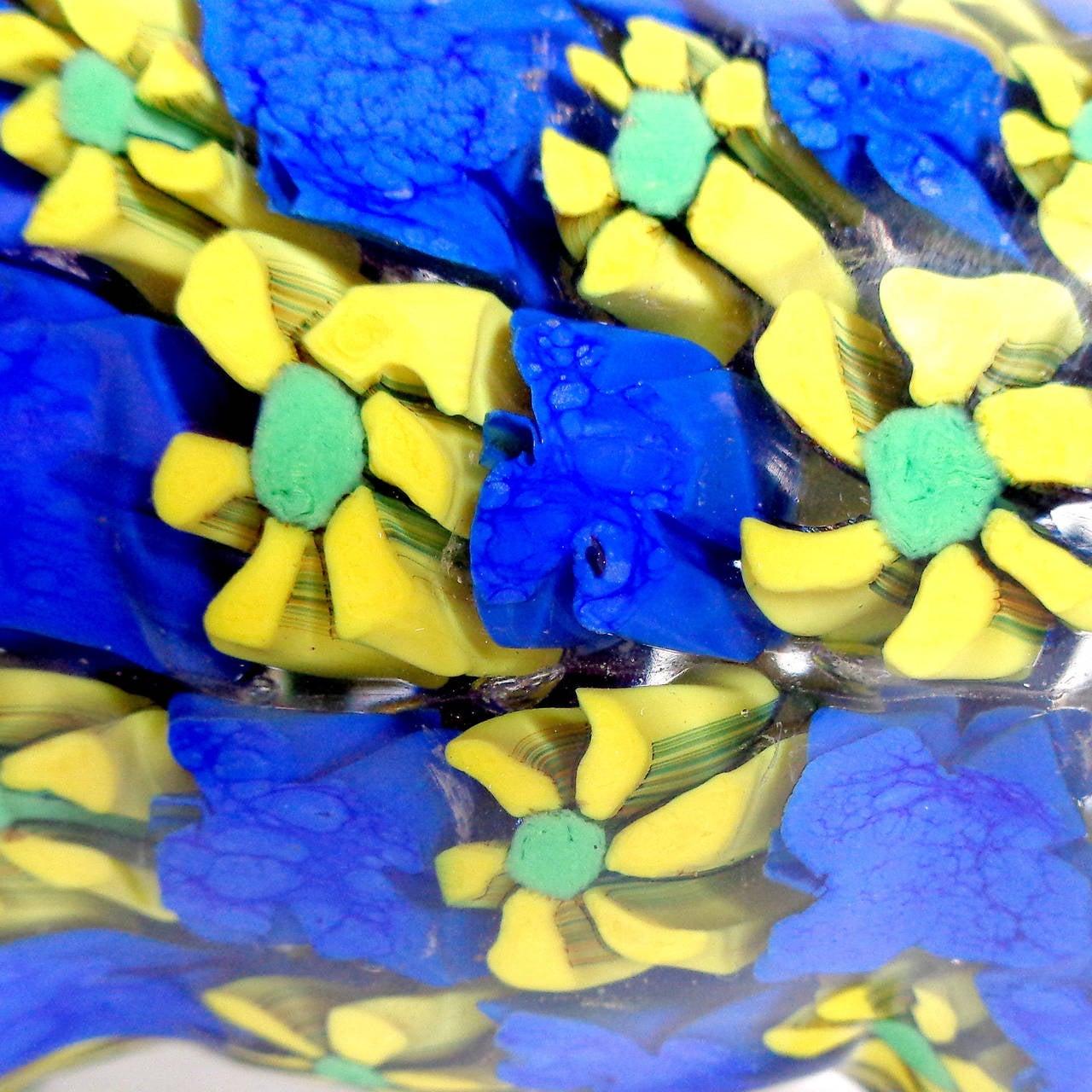 Fratelli Toso Murano Yellow And Blue Millefiori Flower Mosaic