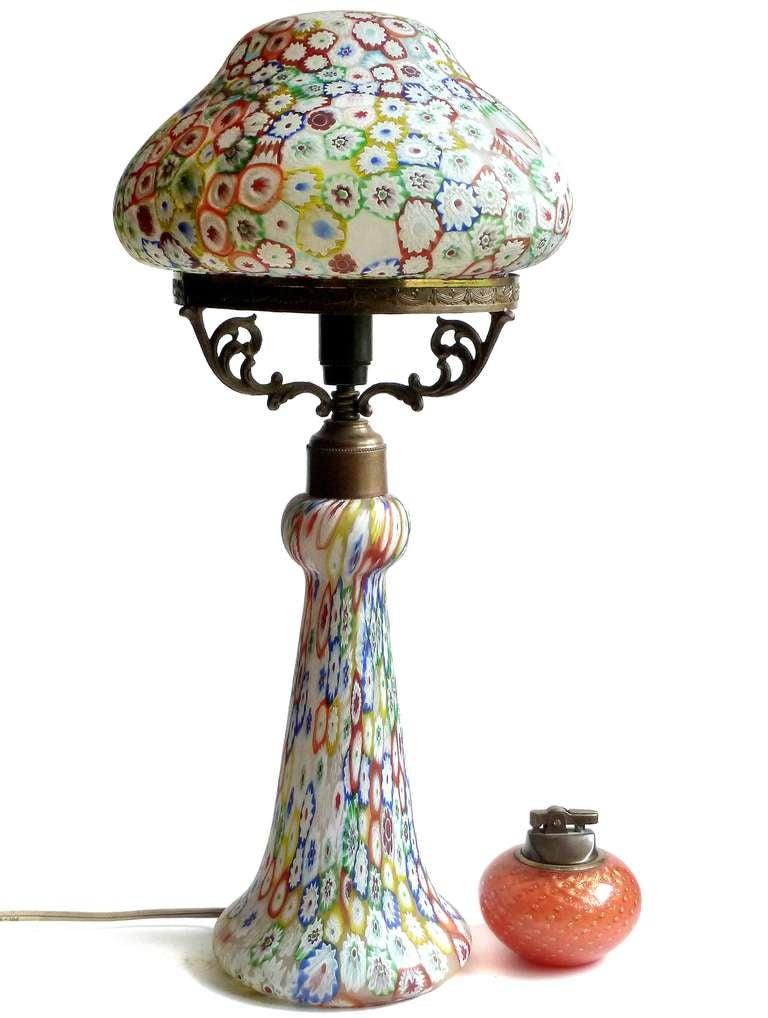 Fratelli Toso Murano Millefiori Flower Mosaic Italian Art Glass Table Lamp 2