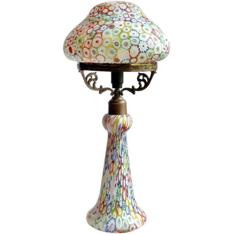 Fratelli Toso Murano Millefiori Flower Mosaic Italian Art Glass Table Lamp 1