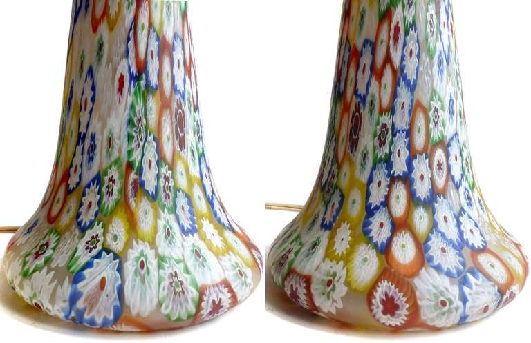 Fratelli Toso Murano Millefiori Flower Mosaic Italian Art Glass Table Lamp 6