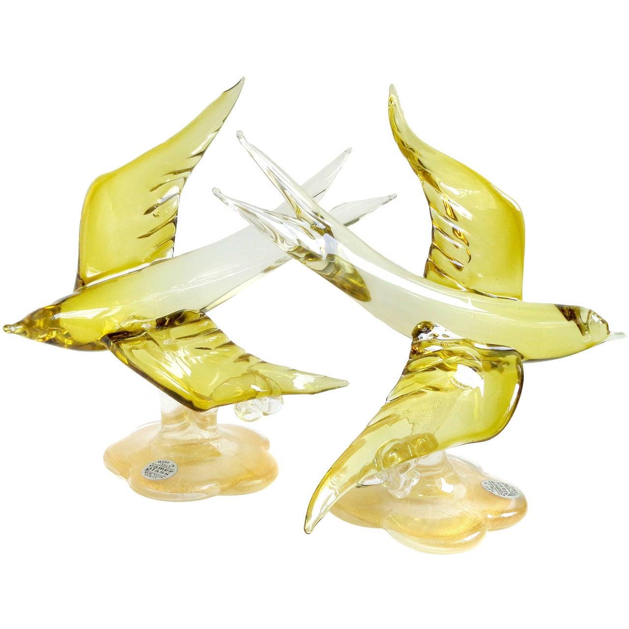 Bird Sculptures Murano Olive Yellow Gold Flecks Italian Art Glass Flying Swallow
