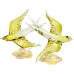 Murano Olive Yellow Gold Flecks Italian Art Glass Flying Swallow Bird Sculptures