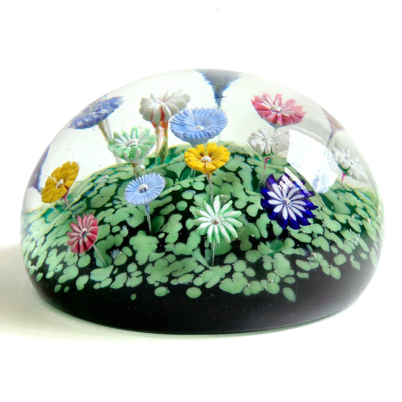 Murano Multicolor Millefiori Wild Flower Garden Italian Art Glass