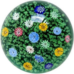 Murano Multicolor Millefiori Wild Flower Garden Italian Art Glass Paperweight