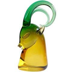 Seguso Murano Sommerso Green Golden Amber Italian Art Glass Ram Sculpture