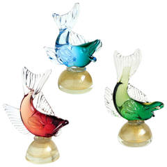 Alfredo Barbini Murano Colorful Sommerso Italian Art Glass Fish Sculptures