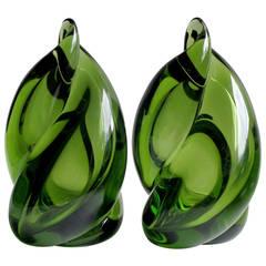 Alfredo Barbini Murano Sommerso Forest Green Italian Art Glass Flame Bookends