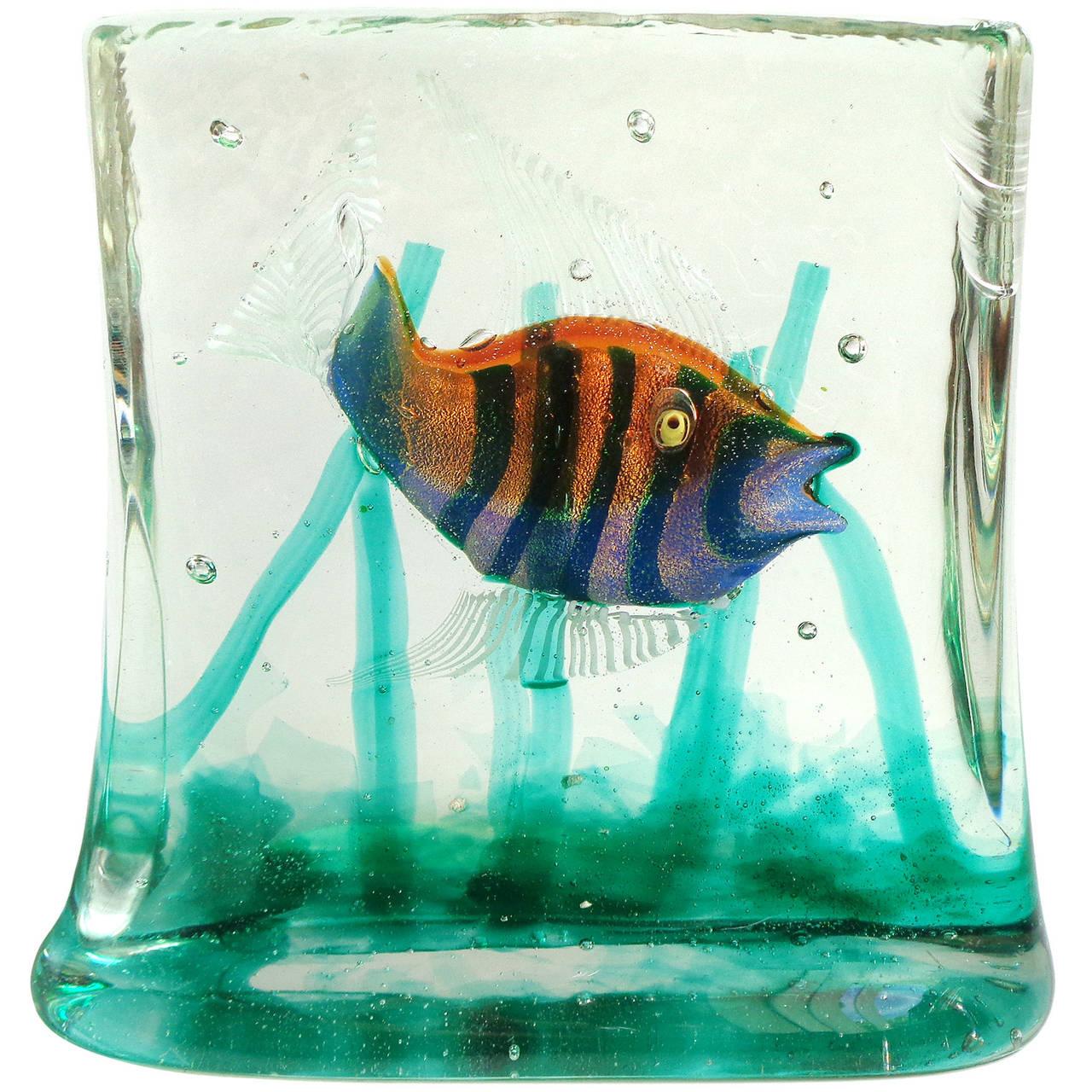 Murano iridescent stripes gold flecks italian art glass for Glass fish tank