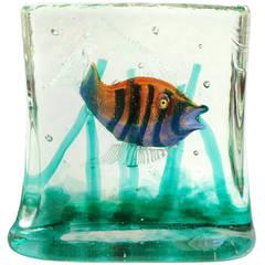 Murano Iridescent, Stripes, Gold Flecks, Italian Art Glass Fish Aquarium Block