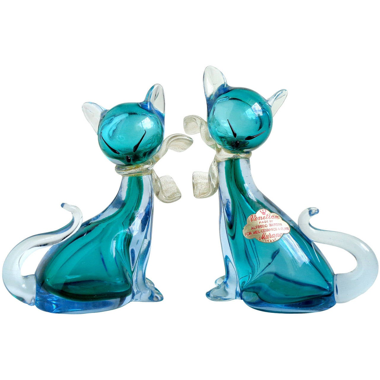 Alfredo Barbini Murano Sommerso Aqua Blue Italian Art Glass Kitty Cat Figurines 1