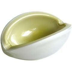Alfredo Barbini Murano Light Green Gold Flecks Italian Art Glass Melon Cut Bowl
