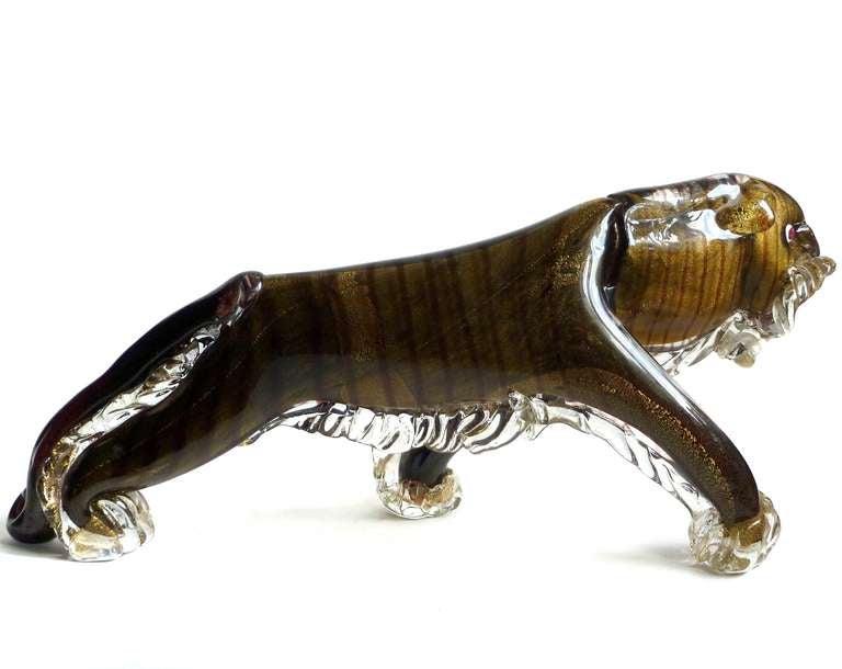 Rare large murano black and gold flecks italian art glass tiger sculpture at 1stdibs - Safari murano jewelry ...
