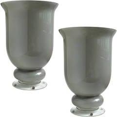 Large Murano Gray Urn Shaped Italian Art Glass Flower Vases