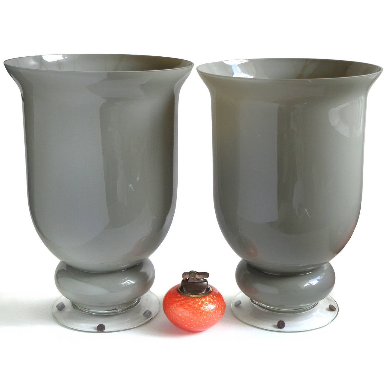 Large murano gray urn shaped italian art glass flower vases for impressive large pair of murano gray italian art glass flower vases created in the manner reviewsmspy