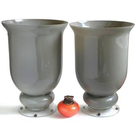 Large Murano Gray Urn Shaped Italian Art Glass Flower Vases For Sale