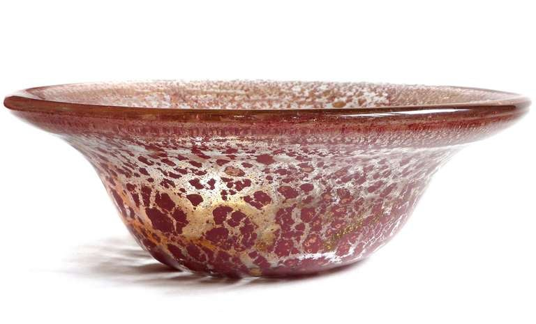 Ercole barovier murano red gold flecks italian art glass