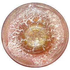 Ercole Barovier Murano Red Gold Flecks Italian Art Glass Centerpiece Bowl