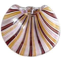 Cenedese Murano A Canne Ribbons Mirror Surface Italian Art Glass Shell Bowl