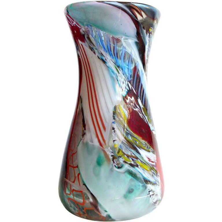 Dino Martens Murano Millefiori Murrines Zanfirico Ribbons Italian Art Glass Vase