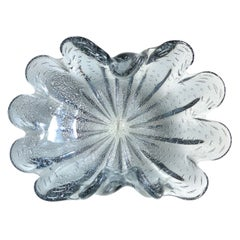 Murano Silver Flecks Steel Gray Color Italian Art Glass Centerpiece Bowl