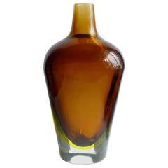 Flavio Poli Seguso Murano Sommerso Amber Yellow Italian Art Glass Flower Vase
