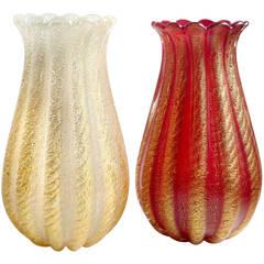 Ercole Barovier Toso Murano Red and White Gold Flecks Italian Art Glass Vases