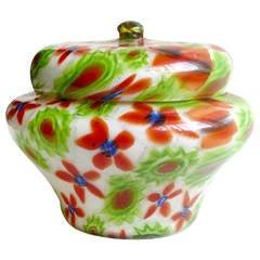 Fratelli Toso Murano, Millefiori Flower Mosaic Italian Art Glass Powder Box