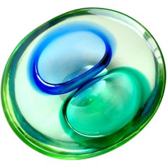 Murano Sommerso Green and Blue Italian Art Glass Double Opening Bowl