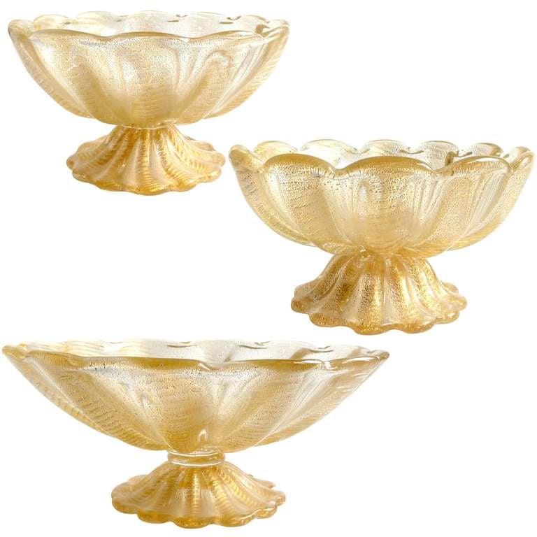 Ercole barovier murano gold flecks italian art glass