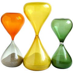 Colorful Murano Hourglass Clessidre Italian Art Glass Vintage Objects