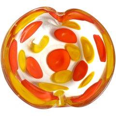 Fratelli Toso Murano Yellow Orange A Pentoni Color Spots Italian Art Glass Bowl