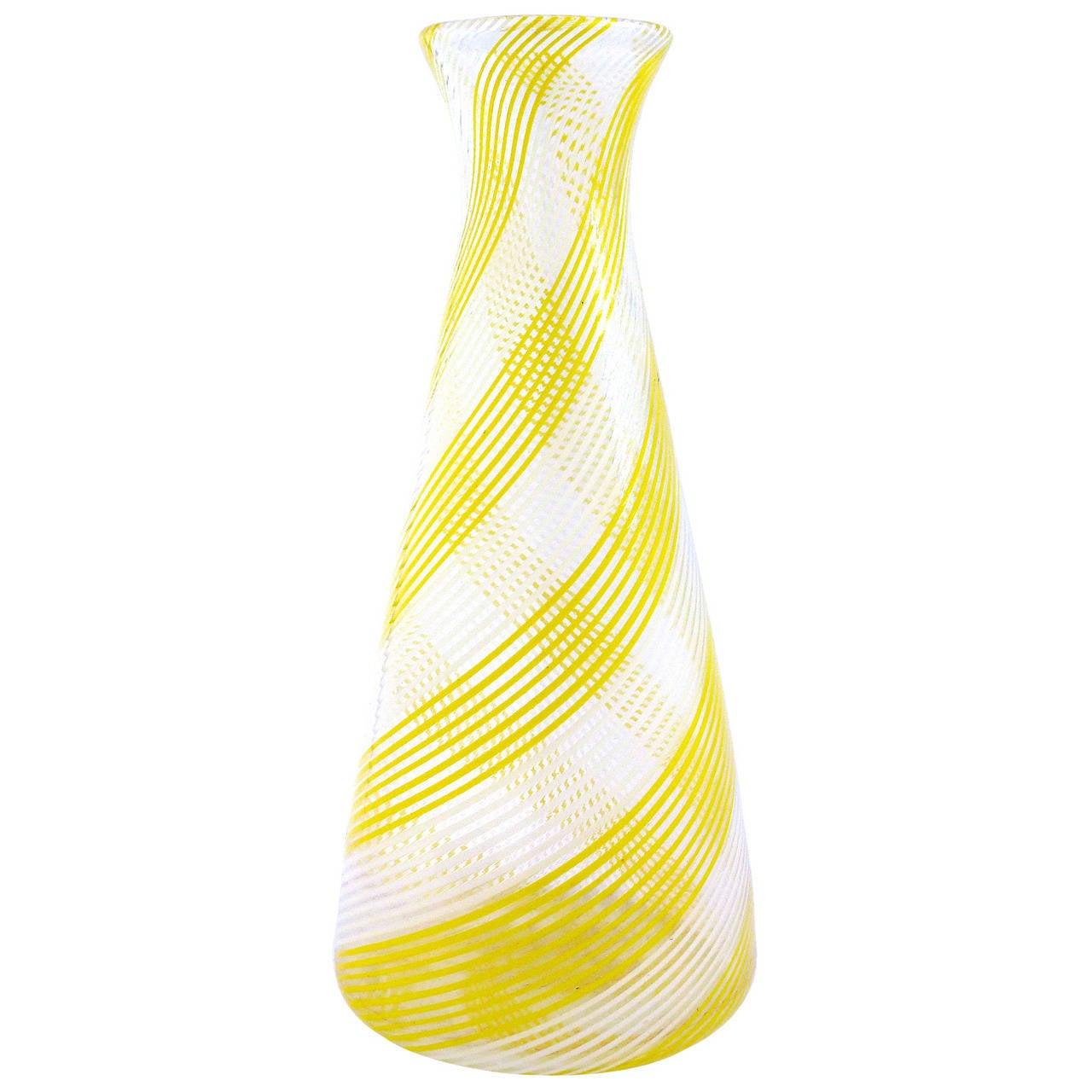 Dino martens aureliano toso murano yellow white italian art glass dino martens aureliano toso murano yellow white italian art glass flower vase for sale reviewsmspy
