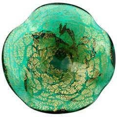 A.Ve.M. Murano Green Gold Flecks Chunky Italian Art Glass Sculptural Bowl