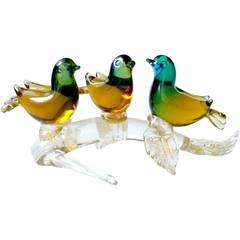 Seguso Vetri D Arte Murano Sommerso Gold Italian Art Glass 3 Birds Sculpture