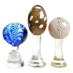 Murano Ribbons, Millefiori, Aventurine Italian Art Glass Pedestal Paperweights