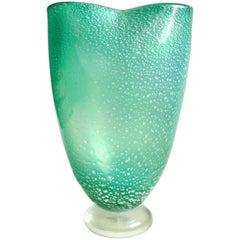 Barovier Toso Murano Silver Fleck Green Iridescent Italian Art Glass Flower Vase