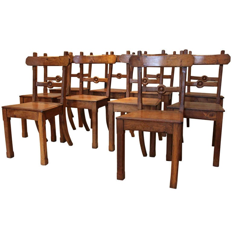 Set of ten solid light oak dining chairs at 1stdibs for Light oak dining furniture