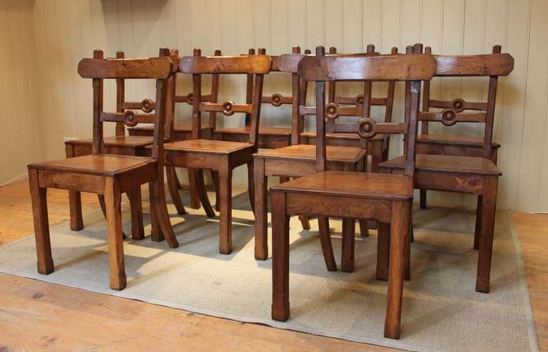set of ten solid light oak dining chairs at 1stdibs