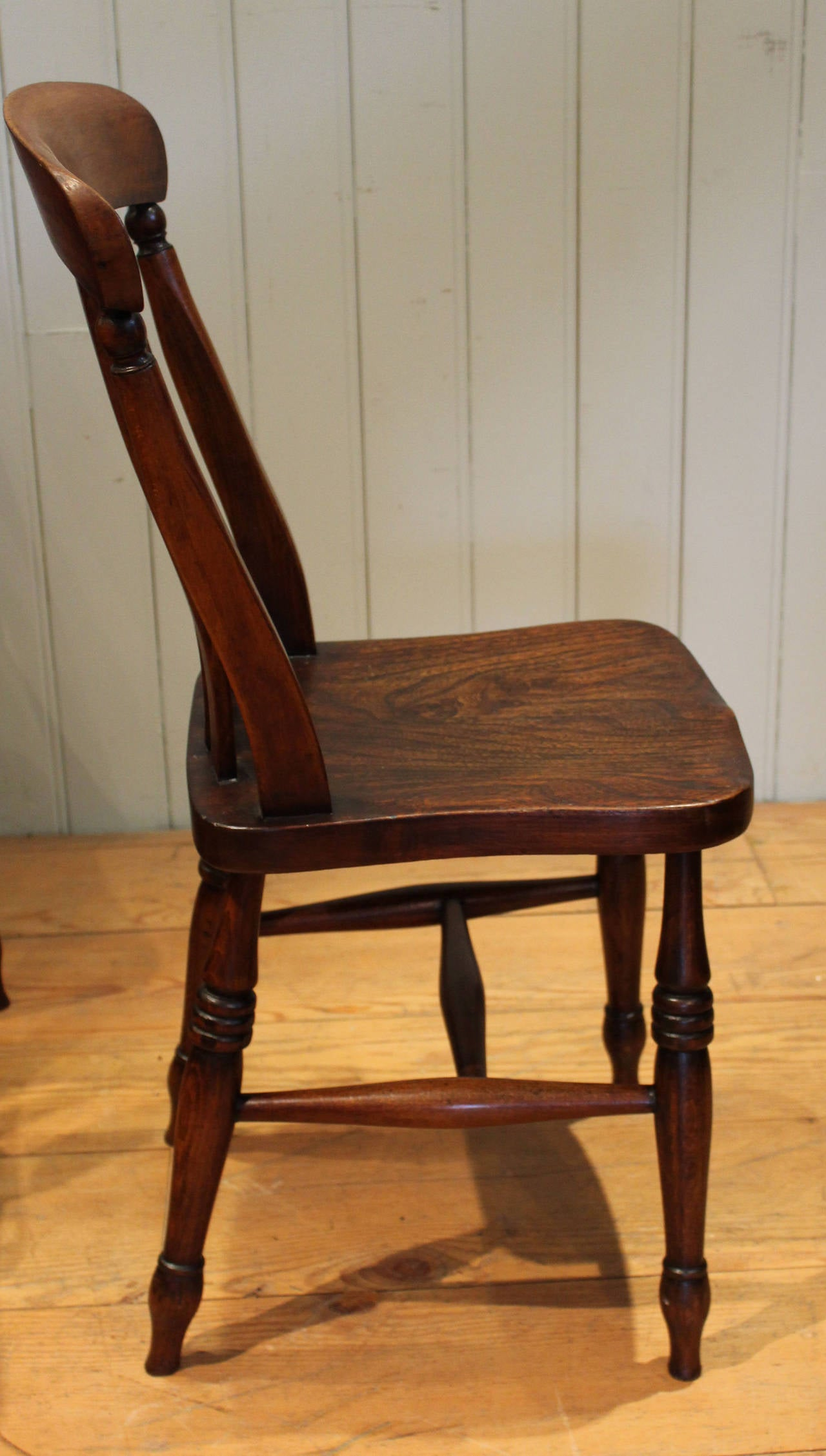 Set Of Four Elm And Beech Lath Back Chairs At 1stdibs