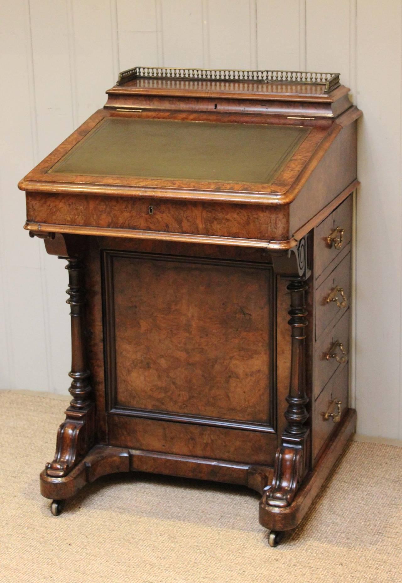 Victorian Burr Walnut Davenport Desk At 1stdibs
