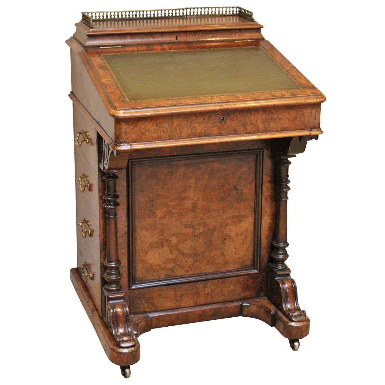 Victorian Burr Walnut Davenport Desk 1 - Victorian Burr Walnut Davenport Desk At 1stdibs