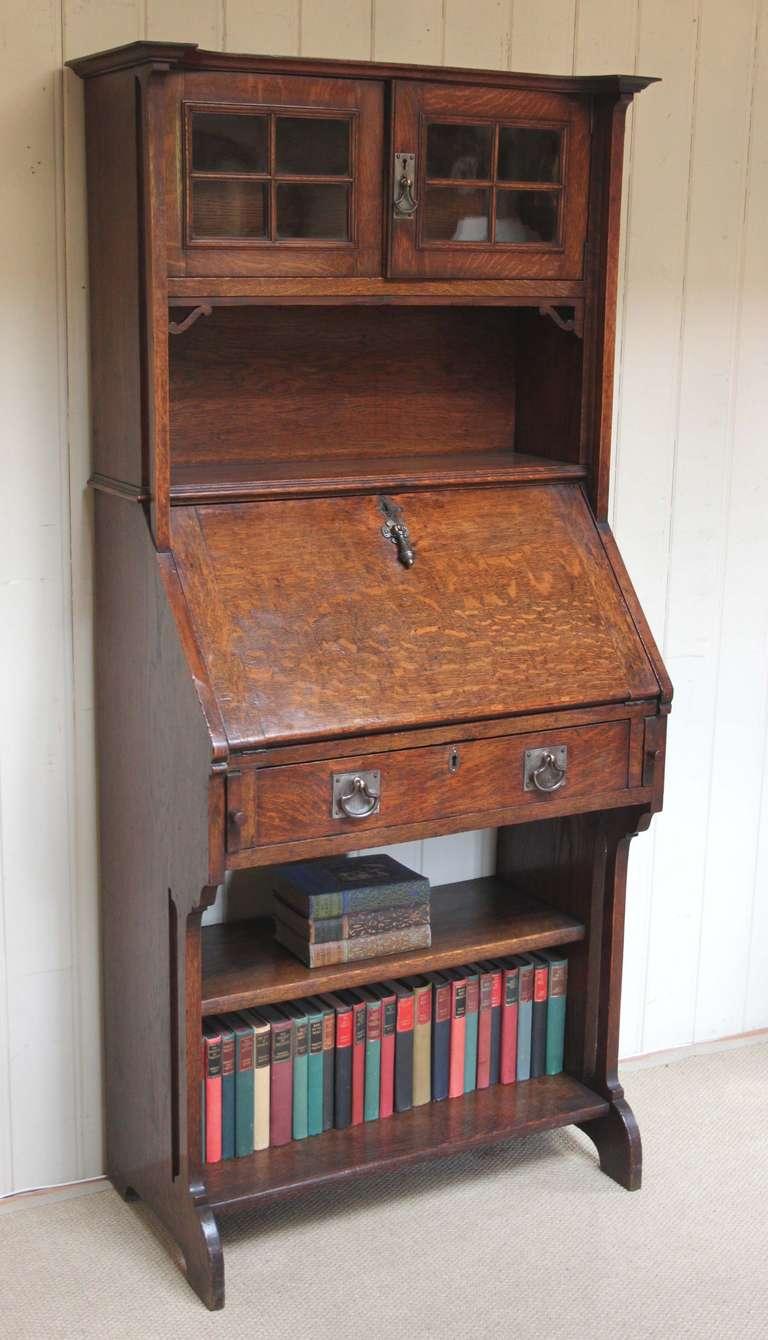 Arts and crafts bureau - Solid Oak Arts And Crafts Bureau Bookcase 2