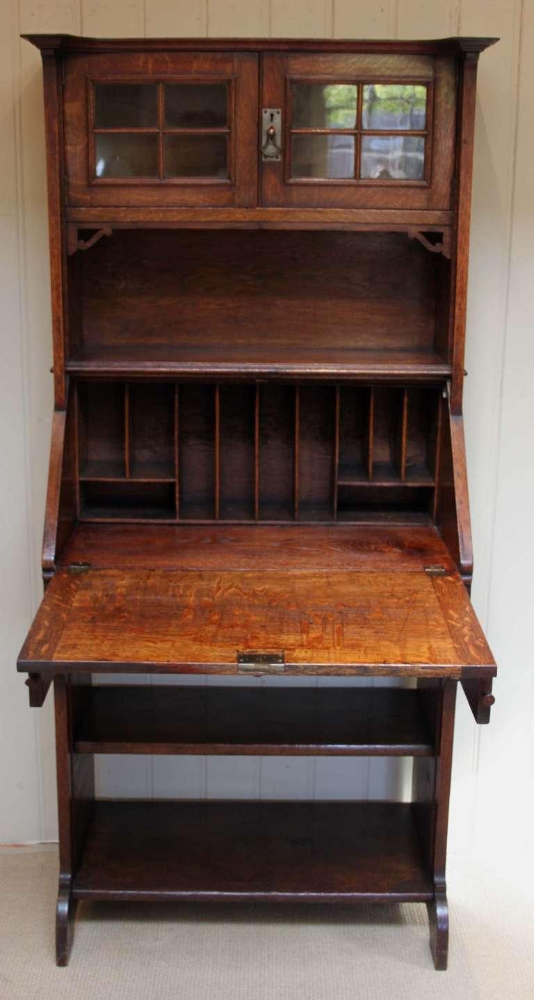 Arts and crafts bureau - Solid Oak Arts And Crafts Bureau Bookcase 3