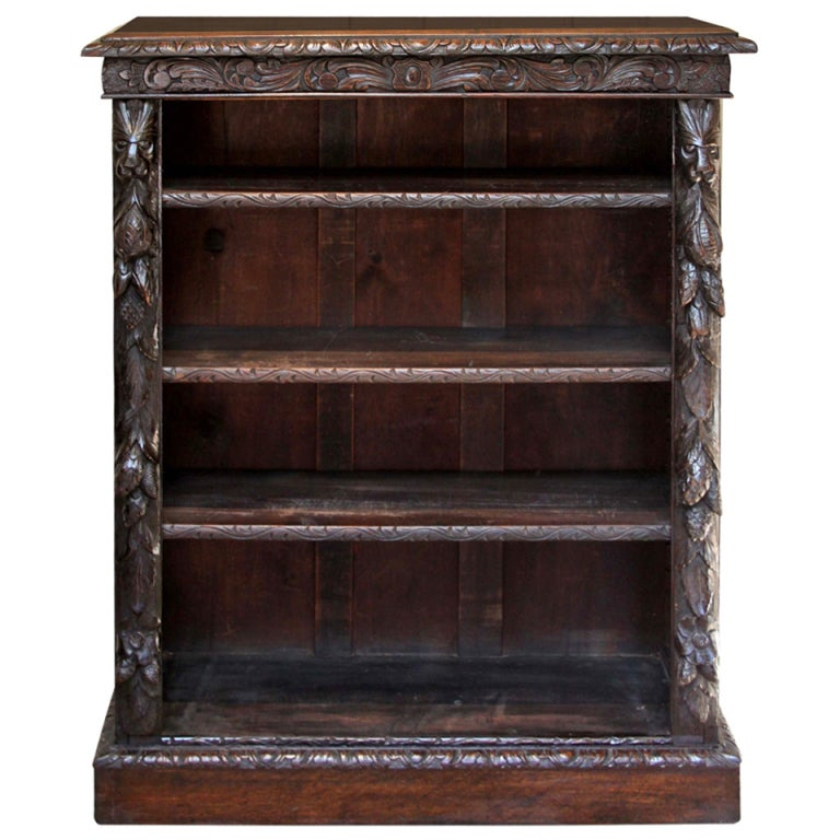 Victorian Gothic Oak Bookcase At 1stdibs