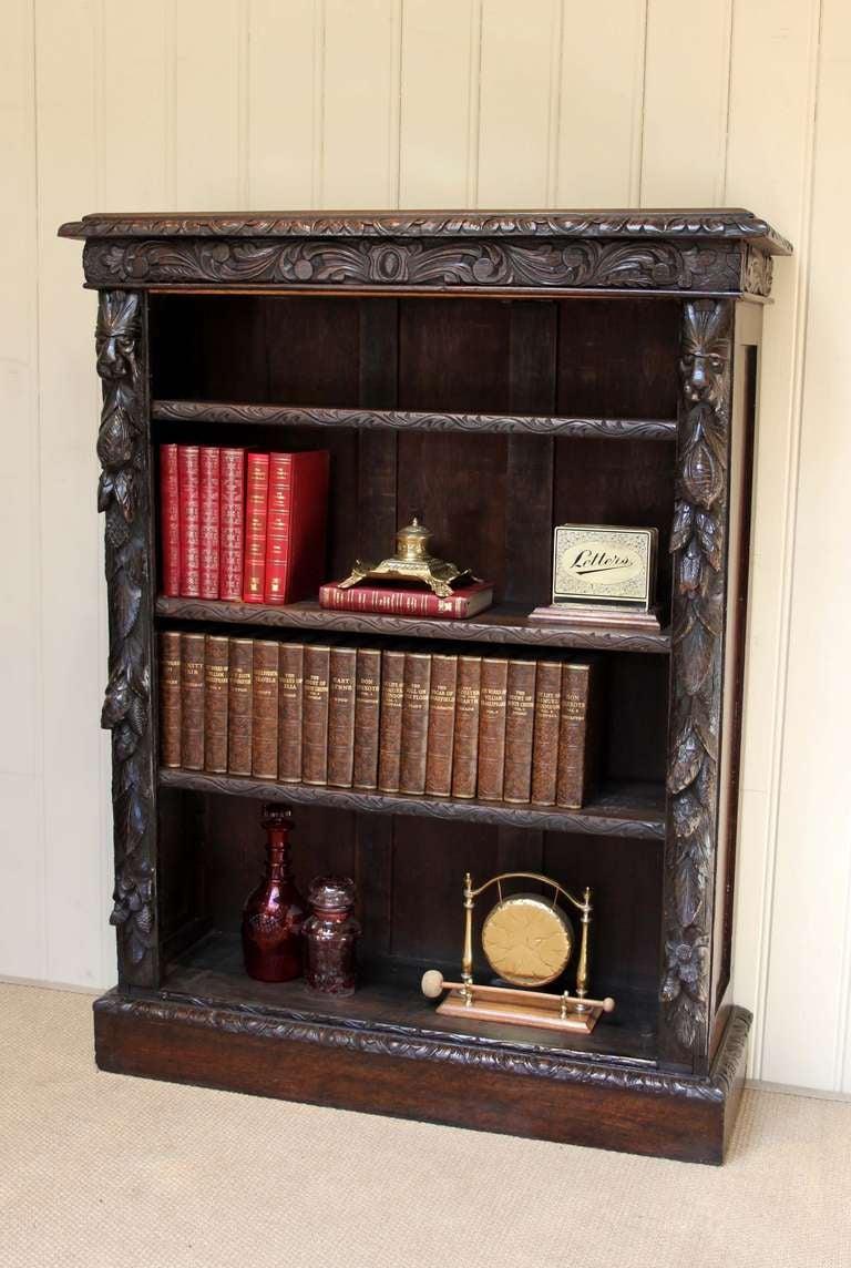 Victorian Gothic Oak Bookcase 3 - Victorian Gothic Oak Bookcase At 1stdibs