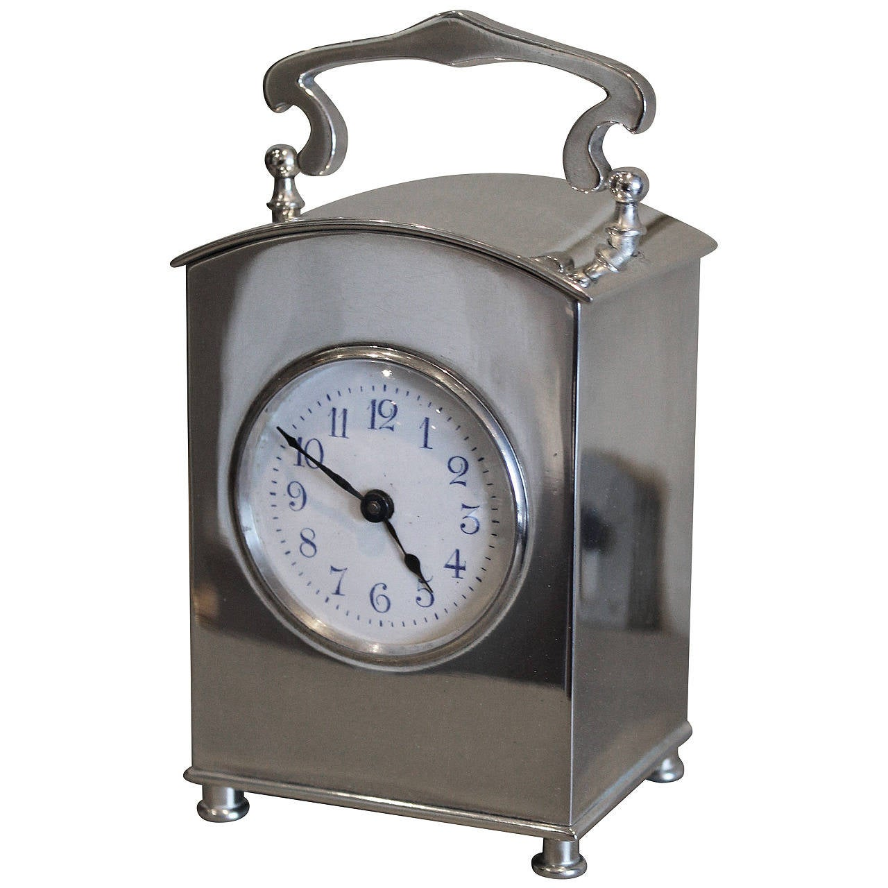 Silver plated arts and crafts carriage clock at 1stdibs for Arts and crafts clocks for sale