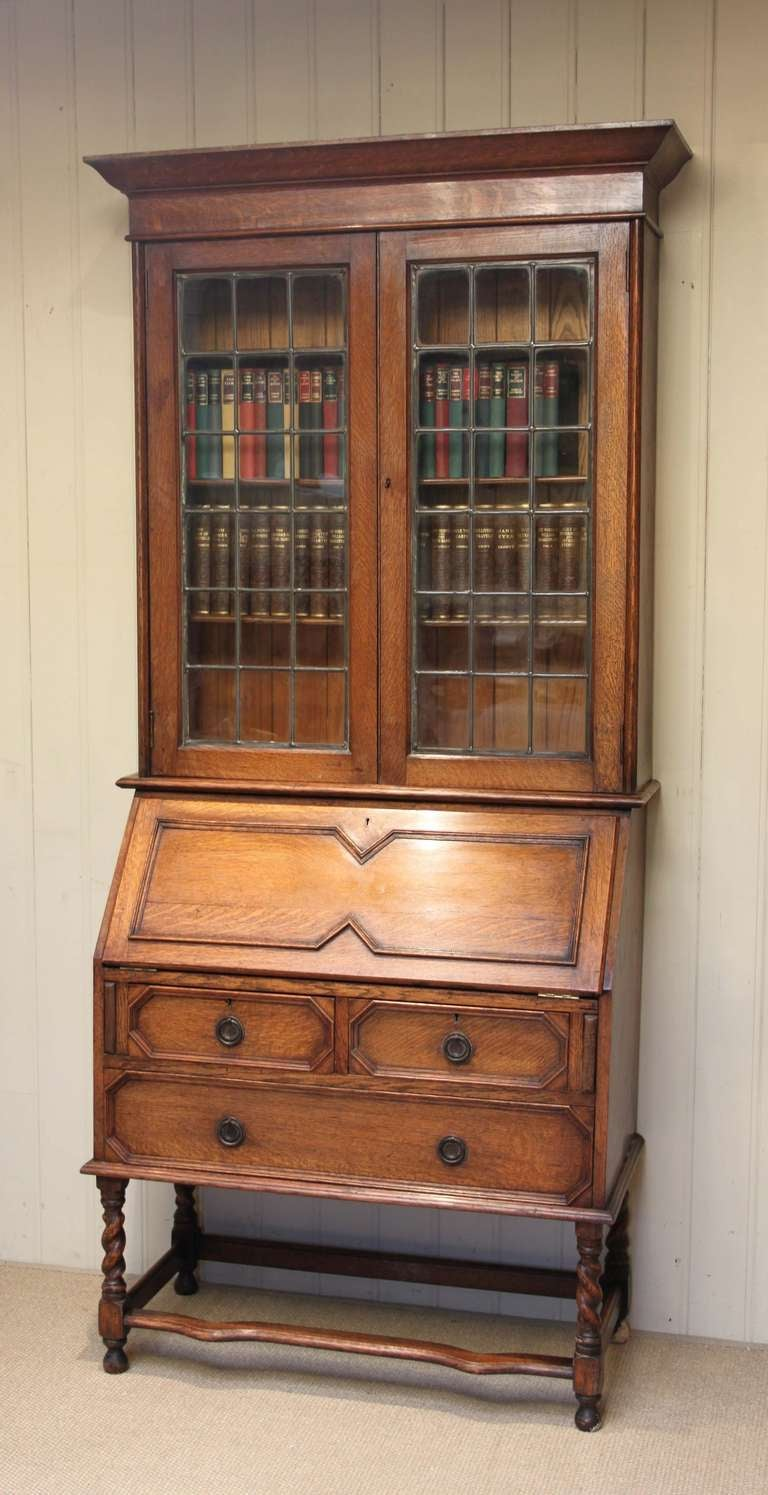 light oak bureau bookcase at 1stdibs. Black Bedroom Furniture Sets. Home Design Ideas