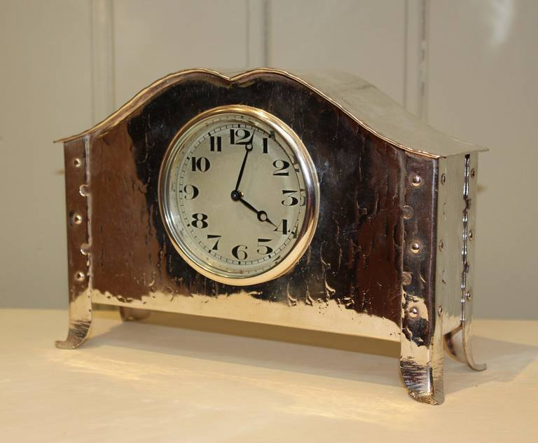 Silver plated arts and crafts mantel clock at 1stdibs for Arts and crafts mantle clock
