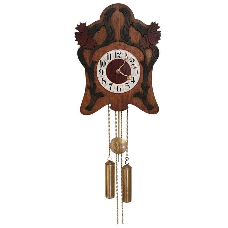 Wall Clock Art Nouveau : Unusual art nouveau wall clock at stdibs